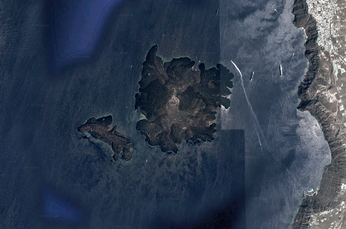 Santorini Island Satelite Photo
